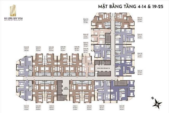 Mặt bằng căn hộ Hạ Long Bay view